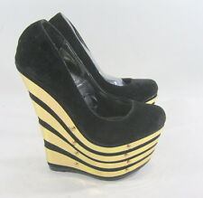 "Blacks/ Gold 6.5"" high wedge heel 2.5"" platform round toe sexy shoes SIZE.  5.5"