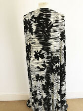 Black and Cream Abstract  Shadow Floral Design on Polyester/Lycra Jersey Fabric
