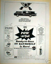 1960's Batmobile Slot car ad by BZ Mfg 1/24th scale Slot car info