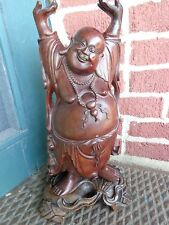 """ANTIQUE ORIENTAL CHINESE HAND CARVED ROSE WOOD HAPPY BUDDHA STATUE ON STAND 16"""""""