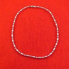 10 INCH 14KT WHITE GOLD PLATED 2MM FANCY MILITARY STYLE BAR BALL CHAIN ANKLET