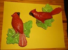 VINTAGE PAIR MILLER CHALK WARE BIRD WALL ART~1972~CARDINAL~RED BIRD CHALK WARE
