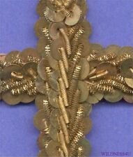 FRENCH ANTIQUE METAL SEQUINS GOLD BUILION BEADED CROSS APPLIQUE TRIM RELIGIOUS