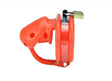 Red-orange Birdlocked Pico Silicone spikes Male Chastity Cage 45mm Ring A128-4