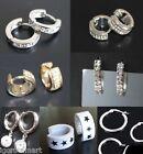 Lots Of Bling Mens Womens Surgical Stainless Steel Clip On Huggie Hoop Earrings