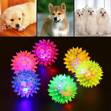 Dog Puppy Cat Pet Led Light Squeaky Squeaker Rubber Chew Bell Ball Toy Toys