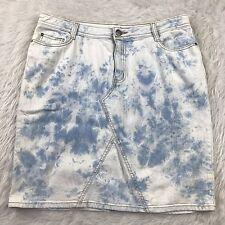 Fashion Womens Size 14 Denim Skirt Bleached tie dye Stretch Jean zig zag 90s J8