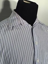 Ermenegildo Zegna Small 39 - 15 1/5 Blue Striped Long Sleeve Button-Front Shirt