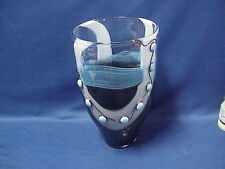 """Studio Art Glass Vase Blue, White, Brown with Silver Wire Wrapped Beads 14"""" Tall"""