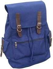 AM Landen Medium Size Canvas Backpack Laptop School Bag(Diamond Blue)
