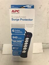 APC P6B 6-Outlet Essential SurgeArrest Surge Protector 120 V, 840 Joules, 6' Cor