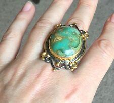 Handmade Turquoise Ring Turkish Gemstone Adjustable 925 Antique Sterling Silver