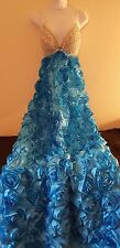 Blue & Silver 3D Rose Empire Crystal Backless Sheath Ball Gown Bridal Wedding
