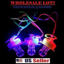 Light Up Pacifier LED Rave Party Glow Whistle & Lanyard String (BULK LOT OF 25X)