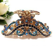 NEW Blue Flowers Austrian Crystal Gold Metal Tone hair claws clips pins 8003