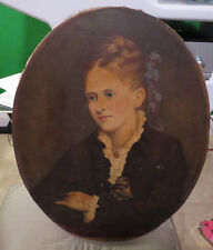 "Large 30""x24"" Life Size Antique Victorian Portrait Oil Painting of a Woman"
