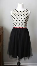 Mystic Brand Women's Size S Small Black Polka Dot Tulle Sleeves Dress Boutique D
