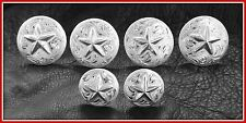 "Saddle Set    4 - 1 1/2"" & 2 - 1"" Hand Engraved Silver Conchos with Stars"