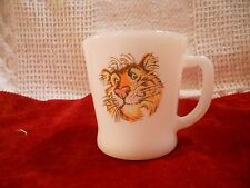 "Fire King  White Milk Glass Esso ""Tiger in your Tank"" Mug D"