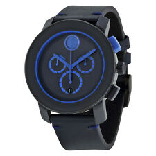 Movado Bold Chronograph Navy Blue Dial Blue Leather Mens Watch 3600349