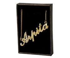 "Name Necklace ""ARPITA - 18ct Gold Plated - Swarovski Elements - Diwali Gifts"