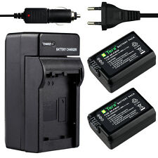 Charger +2X1950mAh NP-FW50 Battery for Sony NP-FW50 NEX 6 NEX-7 5R 5N 3N A7R A7S