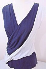 New Anthropologie Leifnotes Womens M Knit Top Navy + Putty Drape Pleat Front NWT