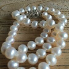 Cultured Pearl Hand Knotted Silk Necklace with Vintage Diamond White Gold Clasp