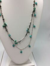 Lucky Brand Turquoise Beaded Station Necklace Double Strand