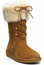 UGG® AUSTRALIA MONTCLAIR CHESTNUT SHEEPSKIN LACE UP BOOTS UK 3.5 EU36 BNWOB £245