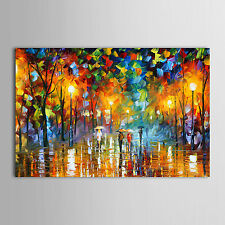 Oil Paintings Modern Landscape Rainy Street Hand-painted Ready to Hang Canvas