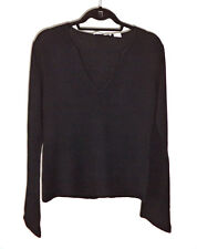 Autumn Cashmere Classic Sexy Black V-Neck Fitted Sweater sz - L