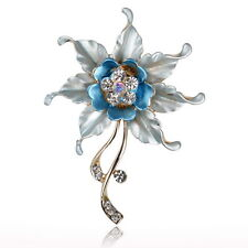 Blue Flower Leaf Crystal Wedding Rhinestone Enamel Charm Pin Brooch Bouquet