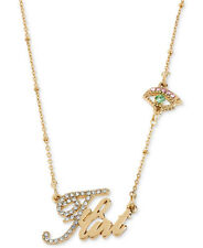 BETSEY JOHNSON Word 'Flirt' Pave Evil Eye Charm Gold-Tone Necklace