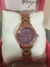 NIB BETSEY JOHNSON TINY TIME PINK PURPLE RHINESTONES BLING BJ00272-08 WATCH NEW
