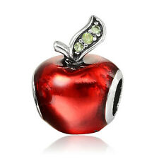 Red Apple CZ European Charms Bead Fit Silver Bracelet&Necklace Chain