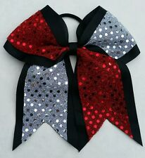 "8"" Red, Black, Silver Sequins, Big Cheer Bows, Softball Cheerleading sports"