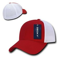 Red White Flex Low Crown Cotton Mesh 6 Panel Baseball Golf Fit Fitted Hat Cap