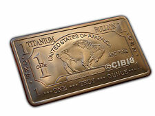 1 Oz TITANIUM BUFFALO BAR .999 PURITY FINE NEW TOP QUALITY HARD METAL RARE EDT
