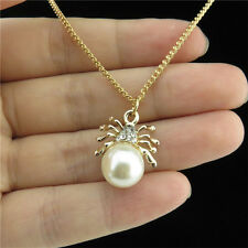 """18"""" Choker Necklace Gold Plated Plastic Faux Pearl Spider Rhinestone Men Pendant"""