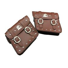 2x Motorcycle Saddlebags Saddle Bags Pouch for Harley Brown Free Shipping