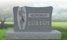 Granite Headstone Large Cross and Vine Grave Marker Tombstone just add your text