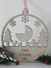 Personalised Baby First 1st Christmas Tree Decorations Bauble Gifts wood Xmas