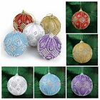Round Balls Rhinestone Baubles Glitter Christmas XMAS Tree Ornament Decor 8CM