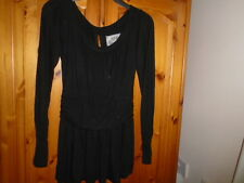 Black long sleeve hip length top, designer DELETTA, size Small, UK 10