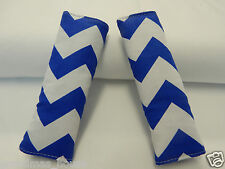 Baby Seat Belt Strap Covers Highchair Stroller- Royal Blue Chevron 100% Cotton