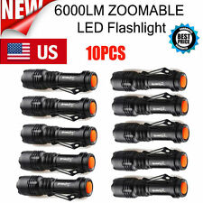 10PC 6000Lumen MiNi Tactical CREE Q5 LED Flashlight Torch Zoomable Lamp Power US