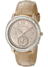 MICHAEL KORS MADELYN ROSE GOLD TONE BEIGE LEATHER PAVE WATCH MK2448