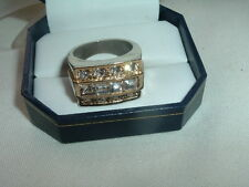VINTAGE CUBIC ZIRCONIA MENS RING, SIZE 8.50 IN RING BOX