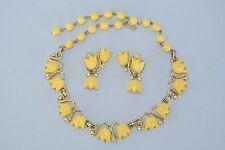 Vtg. Kramer Yellow Lucite & Rhinestone Gold Tone Flower Necklace & Earrings Set